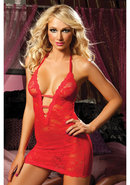 Midnight Affair 3pc Chemise - Red - Os